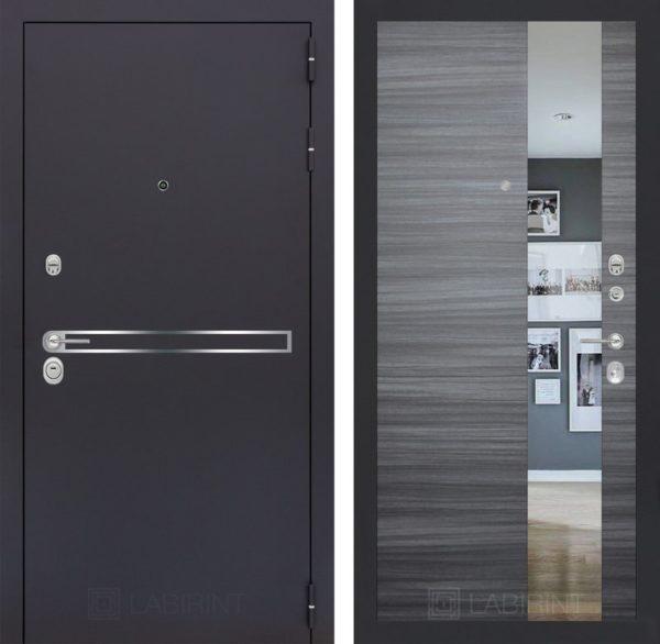Входная дверь LINE с Зеркалом - Сандал серый горизонтальный